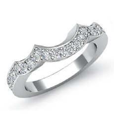 Round Pave Diamond Half Wedding Band Platinum 950 2.5mm Women's Ring  (0.47Ct. tw.)