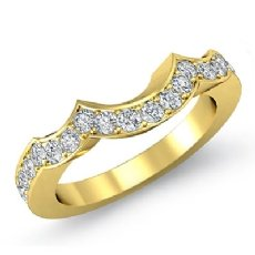 Round Pave Diamond Half Wedding Band 14k Gold Yellow 2.5mm Women's Ring  (0.47Ct. tw.)
