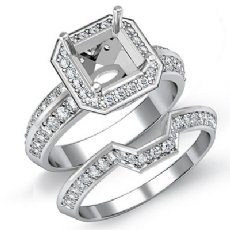 1.45Ct Diamond Bridal Engagement Set SemiMount 14K White Gold Asscher Shape Ring