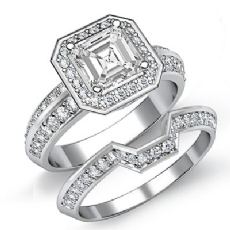Halo 2 Row Shank Bridal Set Asscher diamond engagement Ring in 14k Gold White