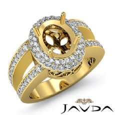 Diamond Engagement Ring 14k Gold Yellow Oval Semi Mount Halo Pave Setting  (1.35Ct. tw.)