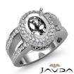 Diamond Engagement Ring 14k White Gold Oval Semi Mount Halo Pave Setting 1.35Ct - javda.com