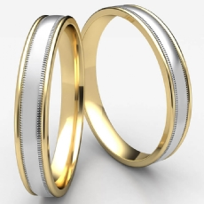 Comfort Fit Domed Milgrain 2 Tone Gold Wedding Band Unisex