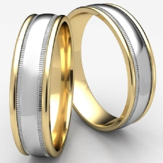 Domed Milgrain Comfort Fit Unisex Two Tone Gold Wedding Band