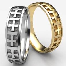 Gaelic Cross Etchings White Gold Men's Wedding Band
