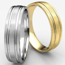 Satin Finish Parallel Grooves Men's Wedding Band White Gold
