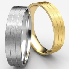 Satin Finish Parallel Grooves White Gold Wedding Band Men
