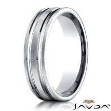 Flat Parallel Grooves Comfort Fit Wedding Band White Gold