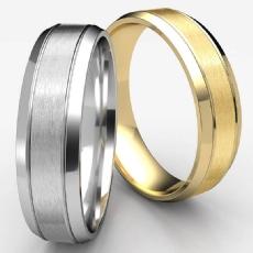 Beveled Edge Carved Design White Gold Unisex Wedding Band