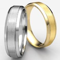 Unisex Beveled Edge Carved Design White Gold Wedding Band