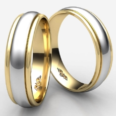 Comfort Fit Carved 14k 2 Tone Gold Wedding Band Unisex