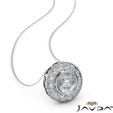 Milgrain Halo Bezel Floating diamond Pendant 14k Gold White