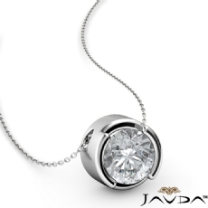 Floating Bezel Solitaire Round diamond  Pendant in 14k Gold White