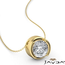 Floating Bezel Solitaire Round diamond  Pendant in 18k Gold Yellow