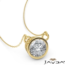 Bezel Set Basket Solitaire Round diamond  Pendant in 18k Gold Yellow