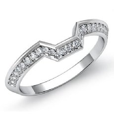 2mm Women's Half Wedding Band Round Cut Pave Diamond  Platinum 950 Ring  (0.45Ct. tw.)