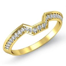 2mm Women's Half Wedding Band Round Cut Pave Diamond  18k Gold Yellow Ring  (0.45Ct. tw.)