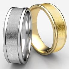 Swirled Finish Center Concave Unisex White Gold Wedding Band