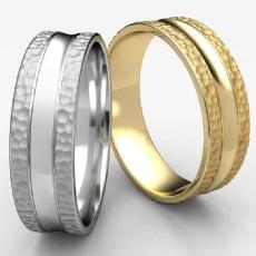 Hammered Finish Center Cut Unisex White Gold Wedding Band