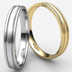 High Polished Unisex Milgrain Carved Wedding Band White Gold