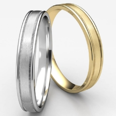 Satin Finished Milgrain Unisex White Gold Carved Wedding Band