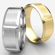 Vertical Grooved Beveled Edge White Gold Unisex Wedding Band