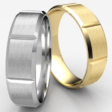 Beveled Edge Vertical Grooved Unisex Wedding Band White Gold