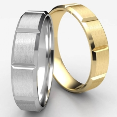 Unisex Beveled Edge Vertical Grooved White Gold Wedding Band