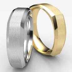 Four Sided Design Beveled Edge White Gold Men's Wedding Band