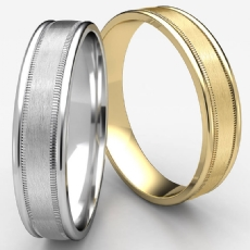 Satin Finish Center Milgrain Unisex White Gold Wedding Band