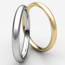Fully Round Comfort Fit Unisex Solid White Gold Wedding Band