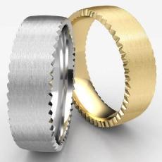 Rivet Coin Edging Comfort Fit White Gold Men's Wedding Band