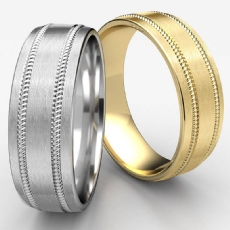 Satin Finish Comfort Fit White Gold Men's Rope Wedding Band