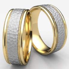 Two Tone Gold Unisex Center Hammered Milgrain Wedding Band