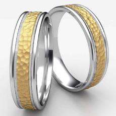 Unisex Two Tone Gold Hammered Center Milgrain Wedding Band