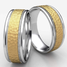 Two Tone Gold Unisex Hammered Milgrain Carved Wedding Band