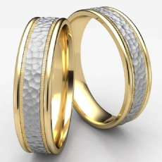 Unisex Hammered Milgrain Two Toned Gold Carved Wedding Band