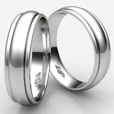 High Polished Unisex Carved Design Wedding Band White Gold