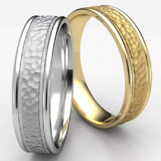 Hammered Finish Unisex Milgrain Edge Wedding Band White Gold