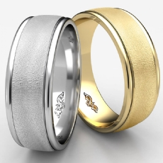 Comfort Fit Wire Brushed Finish White Gold Wedding Band Men