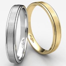 Unisex Comfort Fit Satin Finished Wedding Band White Gold