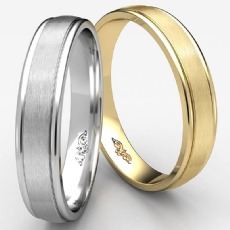 Satin Finished Center Unisex Carved Wedding Band White Gold
