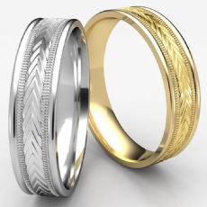 Harvest Of Love Milgrain Edge Unisex White Gold Wedding Band