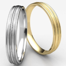 Satin Finished Grooved Unisex Carved Wedding Band White Gold