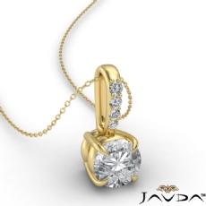 Solitaire Prong Set Bail Round diamond  Pendant in 18k Gold Yellow