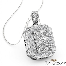 4 Prong Scroll Halo Pave diamond Pendant 14k Gold White