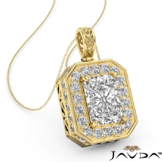 Radiant diamond  Pendant in 14k Gold Yellow