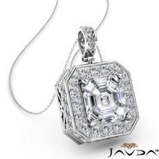 Circa Halo Pave Filigree Bale diamond Pendant 14k Gold White