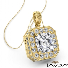 Asscher diamond  Pendant in 14k Gold Yellow