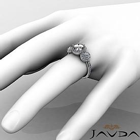 Round Diamond Engagement Ring 3 Stone Pave Semi Mount 14k W Gold Setting 3/4Ct